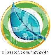 Clipart Of A Dewy Blue Leaf Logo Royalty Free Vector Illustration