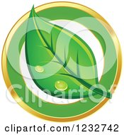 Clipart Of A Dewy Green Leaf Logo 2 Royalty Free Vector Illustration