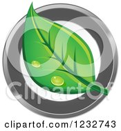 Clipart Of A Dewy Green Leaf Logo Royalty Free Vector Illustration