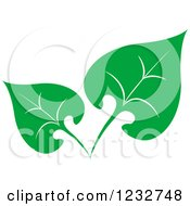 Clipart Of A Green Leaf And Reflection Logo 37 Royalty Free Vector Illustration