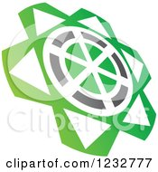 Clipart Of A Green And Gray Windmill Logo Royalty Free Vector Illustration by Vector Tradition SM