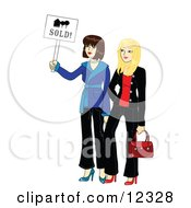 Clipart Graphic Illustration Of Two Young Beautiful Real Estate Agent Realtors Holding A Sold Sign by Rosie Piter