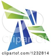 Clipart Of A Green And Blue Windmill Logo 2 Royalty Free Vector Illustration by Vector Tradition SM