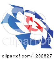 Clipart Of A Blue And Red Arrow Logo Royalty Free Vector Illustration