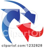 Clipart Of A Blue And Red Arrow Logo 6 Royalty Free Vector Illustration