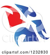 Clipart Of A Blue And Red Arrow Logo 4 Royalty Free Vector Illustration