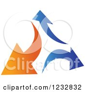 Clipart Of A Blue And Orange Arrow Logo 5 Royalty Free Vector Illustration