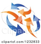 Clipart Of A Blue And Orange Arrow Logo Royalty Free Vector Illustration