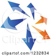 Clipart Of A Blue And Orange Arrow Logo 2 Royalty Free Vector Illustration