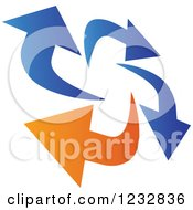 Clipart Of A Blue And Orange Arrow Logo 9 Royalty Free Vector Illustration