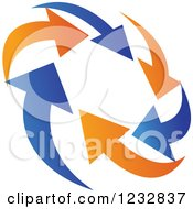 Clipart Of A Blue And Orange Arrow Logo 8 Royalty Free Vector Illustration
