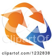Clipart Of A Blue And Orange Arrow Logo 7 Royalty Free Vector Illustration