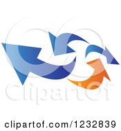 Clipart Of A Blue And Orange Arrow Logo 6 Royalty Free Vector Illustration