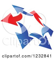 Clipart Of A Blue And Red Arrow Logo 9 Royalty Free Vector Illustration