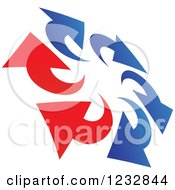 Clipart Of A Blue And Red Arrow Logo 7 Royalty Free Vector Illustration