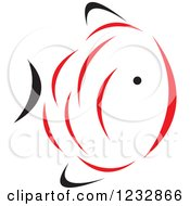 Clipart Of A Red And Black Fish Logo 12 Royalty Free Vector Illustration by Vector Tradition SM