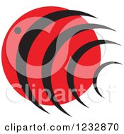 Clipart Of A Red And Black Fish Logo Royalty Free Vector Illustration