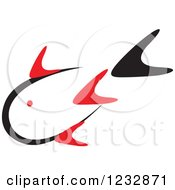 Clipart Of A Red And Black Fish Logo 7 Royalty Free Vector Illustration