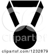Clipart Of A Black And White Sports Medal Icon Royalty Free Vector Illustration