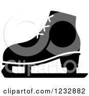 Clipart Of A Black And White Ice Skate Sports Icon Royalty Free Vector Illustration