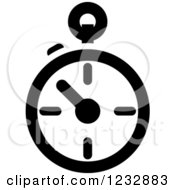 Clipart Of A Black And White Stop Watch Sports Icon Royalty Free Vector Illustration