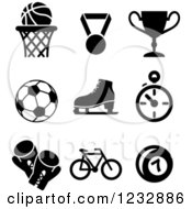 Clipart Of Black And White Basketball Sports Icons Royalty Free Vector Illustration by Vector Tradition SM