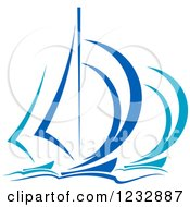 Clipart Of Blue Regatta Yachts Or Sailboats Royalty Free Vector Illustration