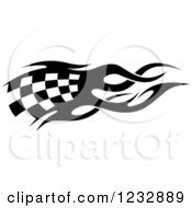 Clipart Of A Black And White Flaming Checkered Racing Flag 2 Royalty Free Vector Illustration
