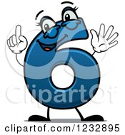 Clipart Of A Happy Blue Number Six Holding Up 6 Fingers Royalty Free Vector Illustration
