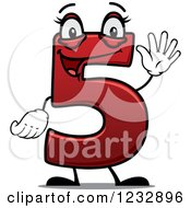 Clipart Of A Happy Red Number Five Holding Up 5 Fingers Royalty Free Vector Illustration