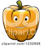 Clipart Of A Happy Orange Bell Pepper Smiling Royalty Free Vector Illustration