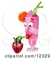 Clay Sculpture Clipart Strawberry Milkshake Drinking From A Berry Royalty Free 3d Illustration by Amy Vangsgard
