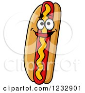 Clipart Of A Happy Smiling Hot Dog With Mustard Royalty Free Vector Illustration