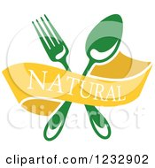 Clipart Of A Yellow Natural Banner With A Green Fork And Spoon Royalty Free Vector Illustration