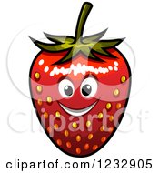 Clipart Of A Happy Strawberry Smiling Royalty Free Vector Illustration