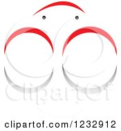 Clipart Of A Red And Black Crab Logo And Reflection Royalty Free Vector Illustration
