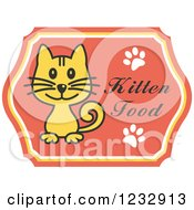 Clipart Of A Cat On A Kitten Food Label Royalty Free Vector Illustration