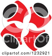 Clipart Of Red And Black Abstract Team Of People Huddled Logo Royalty Free Vector Illustration