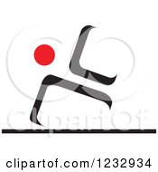 Clipart Of A Red And Black Abstract Gymnast Person Logo Royalty Free Vector Illustration