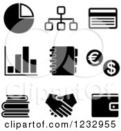 Clipart Of Black And White Business Icons 2 Royalty Free Vector Illustration