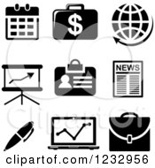 Clipart Of Black And White Business Icons Royalty Free Vector Illustration