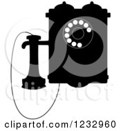 Clipart Of A Black And White Retro Wall Mounted Phone Royalty Free Vector Illustration