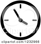 Clipart Of A Black And White Wall Clock Business Icon Royalty Free Vector Illustration