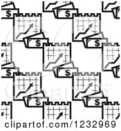 Clipart Of A Seamless Black And White Pattern Of Cash And Graphs Royalty Free Vector Illustration