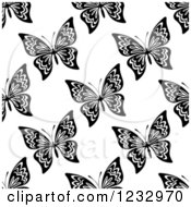 Clipart Of A Seamless Black And White Butterfly Background Pattern 2 Royalty Free Vector Illustration