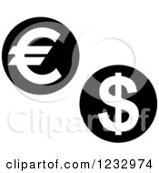 Clipart Of A Black And White Coin Business Icon Royalty Free Vector Illustration