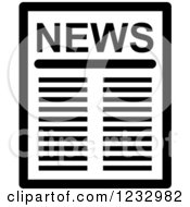 Clipart Of A Black And White Business News Icon Royalty Free Vector Illustration