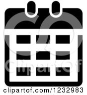Clipart Of A Black And White Calendar Business Icon Royalty Free Vector Illustration