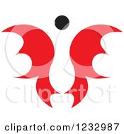 Clipart Of A Red And Black Butterfly Or Angel Logo 2 Royalty Free Vector Illustration by Vector Tradition SM