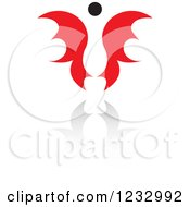 Clipart Of A Red And Black Butterfly Or Angel Logo And Reflection 2 Royalty Free Vector Illustration by Vector Tradition SM